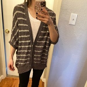 Free People grey striped cocoon cardigan sweater